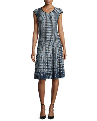 Checked Out Twirl Dress, Petite