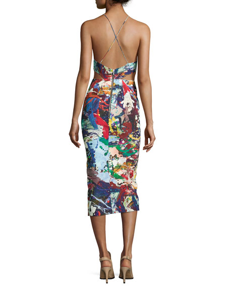 Sleeveless Crisscross-Back Sheath Dress, Paint Splatter