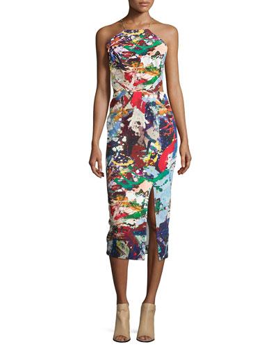 Sleeveless Crisscross-Back Sheath Dress, Paint Splatter