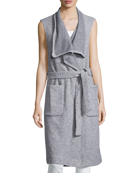 Nicholas Sleeveless Wrap Long Vest, Salt & Pepper