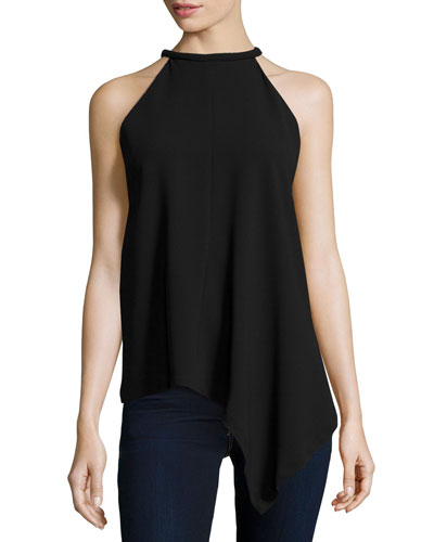 Rolled Halter-Neck Draped Tank, Black