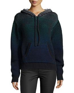Long-Sleeve Hooded Sweatshirt, Black