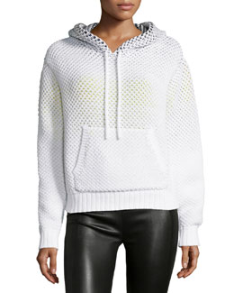 Ombre Honeycomb Hooded Sweatshirt, White Multi