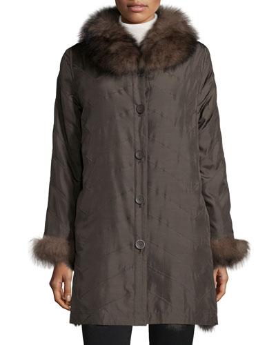 Reversible/Packable Fox Fur Long Coat, Brown