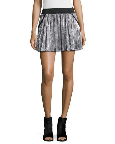Jaffar Pleated Metallic Miniskirt, Argent