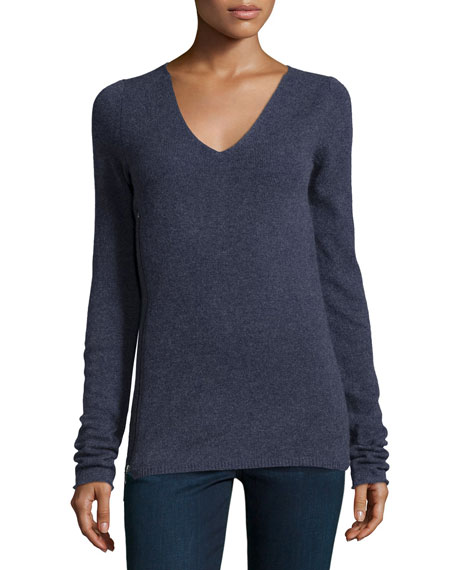 Inhabit V-Neck Long-Sleeve Sweater W/Side-Zip, Quartz