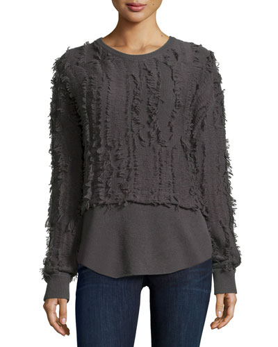 Long-Sleeve Seven-Gauge Pullover W/Fringe, Smoke