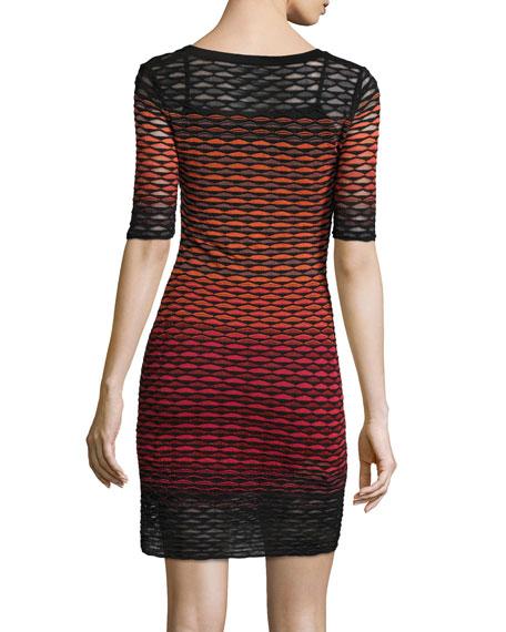 Gradient Fan-Stitch Sheath Dress