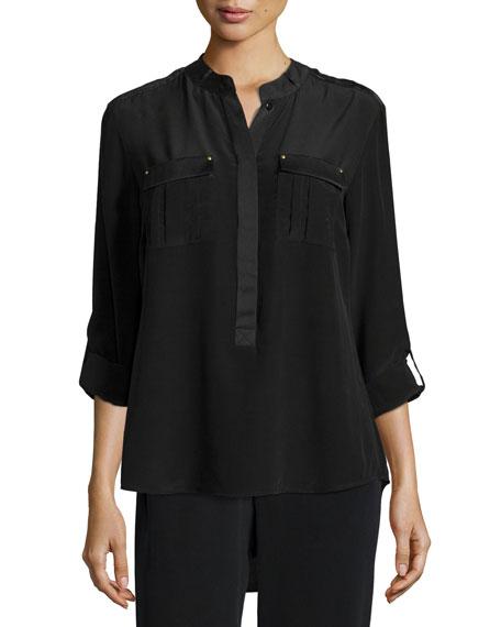 Go Silk Long-Sleeve Stud-Trim Silk Blouse