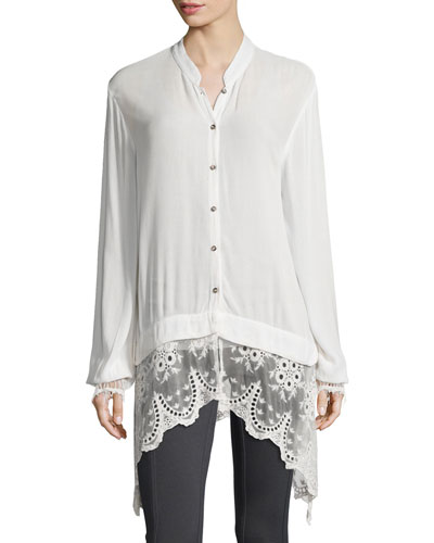 Daisy Blouse with Lace Trim, Women's