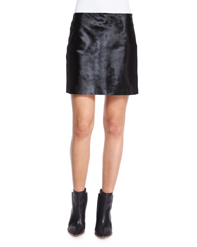 Ketill Sonoran Calf Hair Mini Skirt, Black