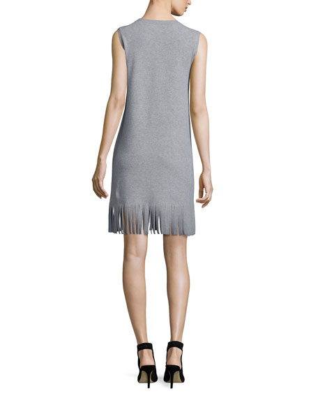 Theory Rosetty Sleeveless Fringe Dress, Heather Gray