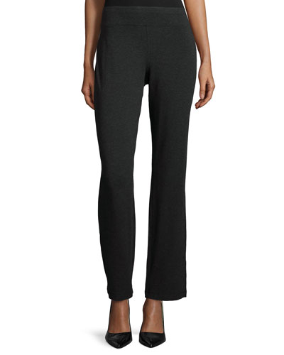 Cozy Stretch Straight-Leg Pants, Charcoal