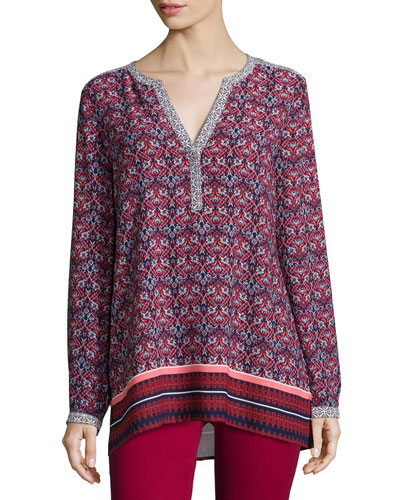 Scarf-Print Long-Sleeve Tunic, Cardinal Red, Women's