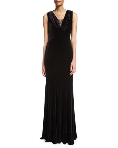 Jordana Bead-Neck Velvet Gown