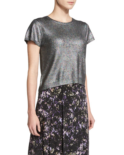 Miranda Short-Sleeve Metallic Knit Crop Top