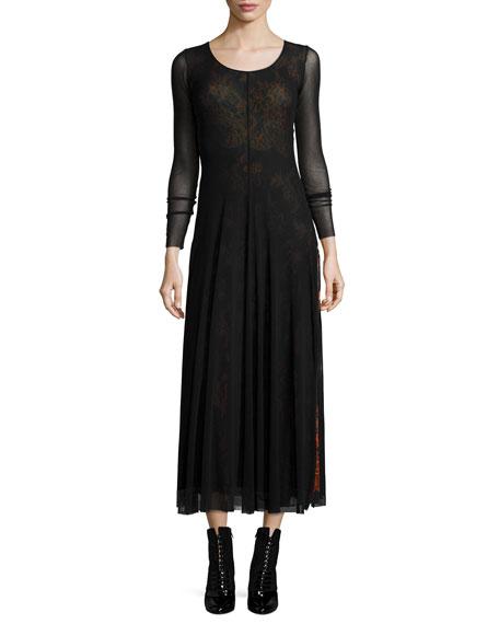 Fuzzi Long-Sleeve Maxi Dress W/ Overlay