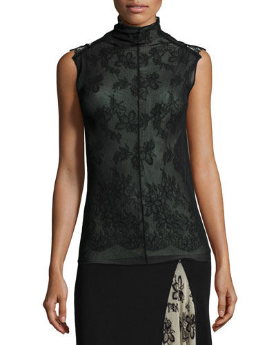 Mock-Neck Sleeveless Lace Tulle Top