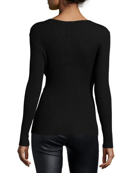 Slit-Zip Ribbed Sweater with Tulle Underlay