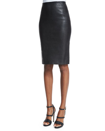 Lambskin Pencil Skirt, Black