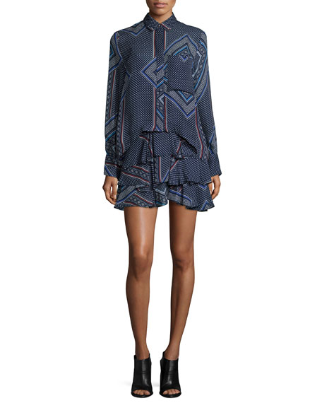 Derek Lam 10 Crosby 2-N-1 Ruffed Skirt Shirtdress