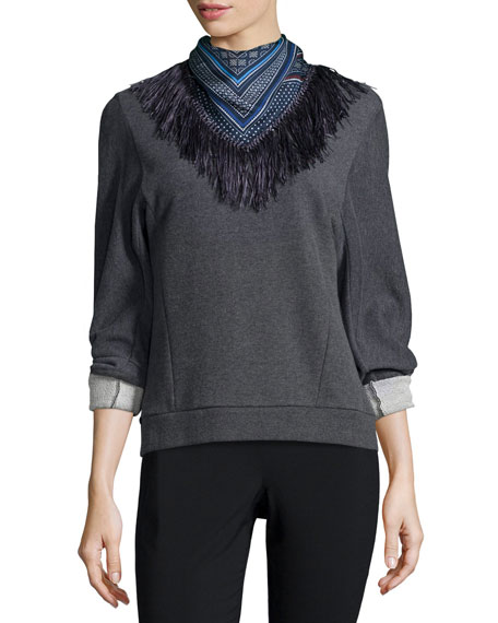 Derek Lam 10 Crosby Sweatshirt with Detachable Scarf, Gray