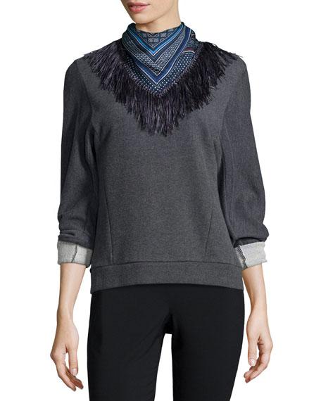 Derek Lam 10 Crosby Sweatshirt with Detachable Scarf, Gray