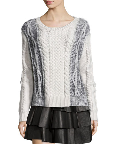Cable Knit Wool Combo Sweater, Cream/Melange Black