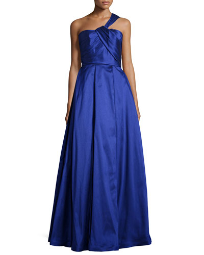 One-Shoulder Pleated Ball Gown