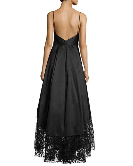 Sleeveless Ball Gown W/ Lace Hem
