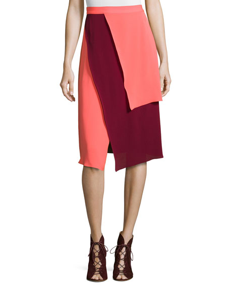 Tanya Taylor Tiered Two-Tone Skirt
