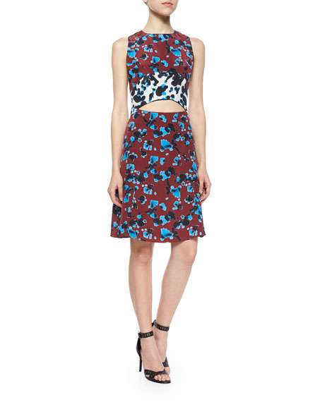 Tanya Taylor Designs Mallory Ink-Spot-Print Cutout Dress