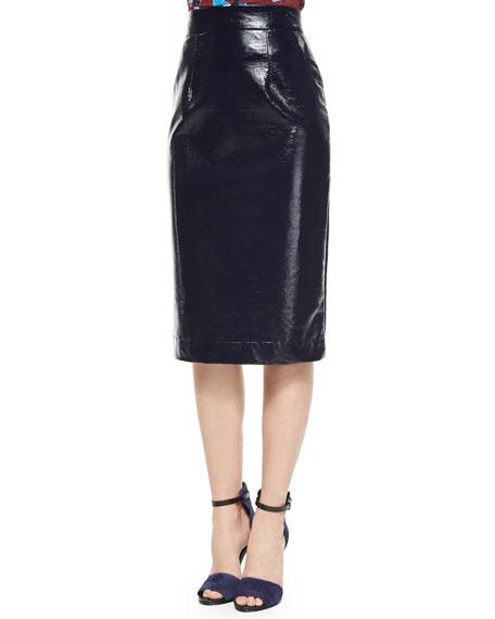 Tanya Taylor Patent Marny Pencil Skirt, Navy