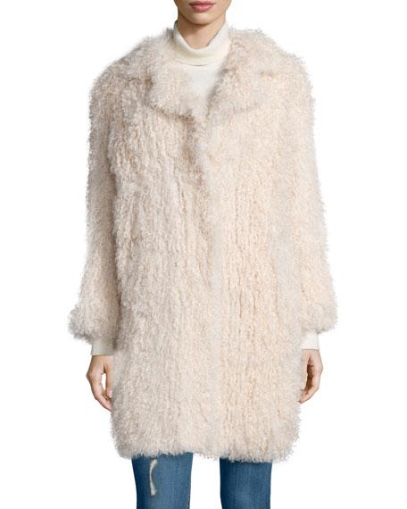 Hart Long-Sleeve Shearling Fur Coat, Nude