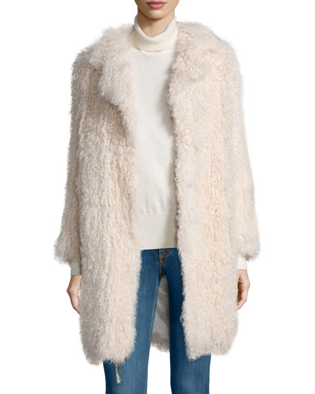 Elizabeth and James Hart Long-Sleeve Shearling Fur Coat, Nude