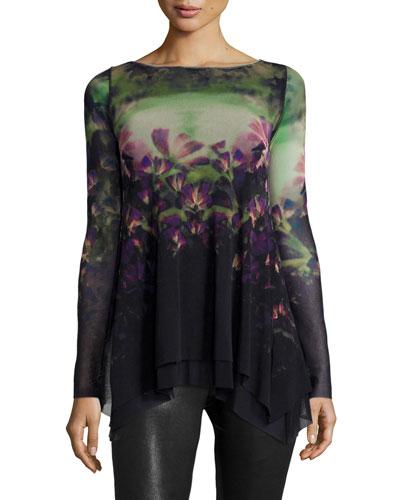 Floral-Print Trapeze Tunic