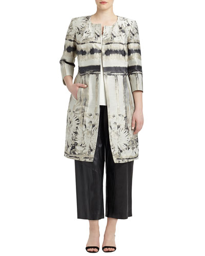 Louanna 3/4-Sleeve Floral Jacquard Topper Jacket, Women