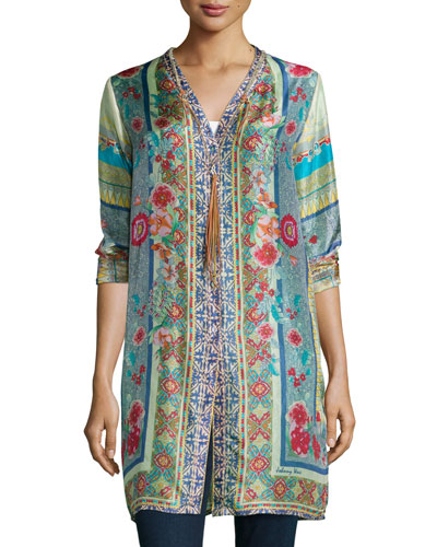 Karina Printed Silk Long Cardigan
