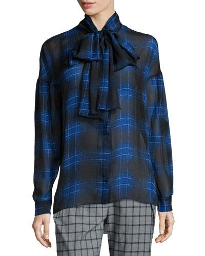 Plaid Tie-Neck Silk Blouse, Blue Multi