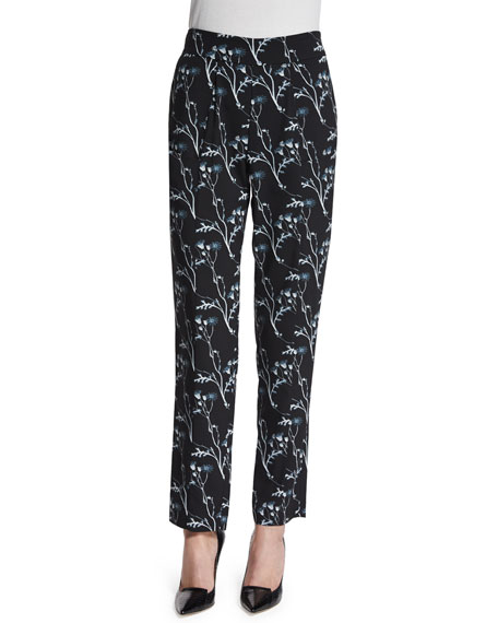 Thakoon Addition Floral Silk Ankle Pants, Black