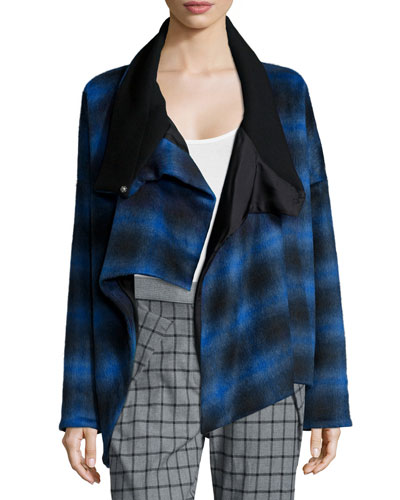 Plaid Crossover Asymmetric Coat, Blue