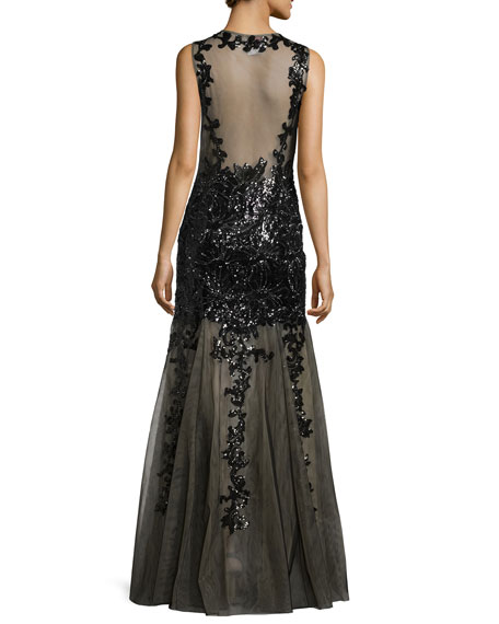 Sleeveless Beaded Lace Tulle Gown