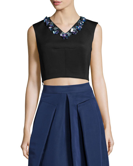 Rebecca Taylor Sleeveless Beaded V-Neck Crop Top