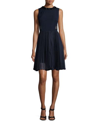 Sleeveless Pleated-Skirt Combo Dress