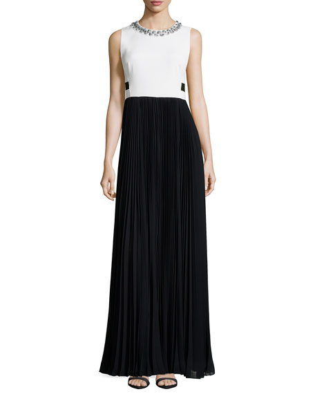 Rebecca Taylor Sleeveless Combo Pleated-Skirt Long Dress