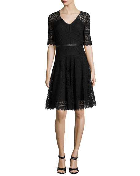 Rebecca Taylor V-Neck Lace Party Dress W/ Leather Band