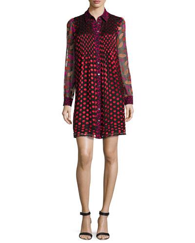Makayla Midnight Kiss Long-Sleeve Pleated Mini Dress, Black/Multicolor
