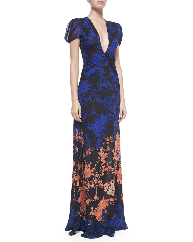Diane von Furstenberg Adrienne Twist-Front Floral Daze Maxi Dress ...