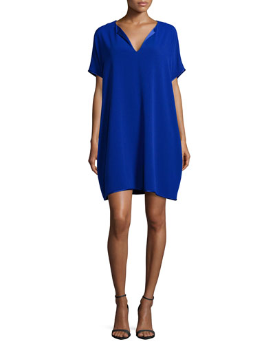 Kora Short-Sleeve Shift Dress, Cosmic Blue