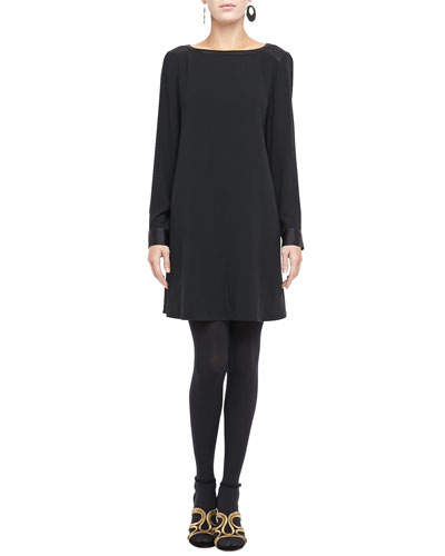 Washable Silk Long-Sleeve Dress, Petite